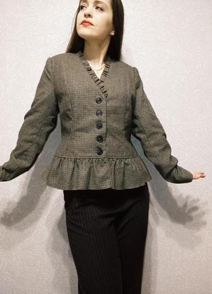 Жакет винтажный гусиная лапка с рюшей пиджак блейзер винтаж