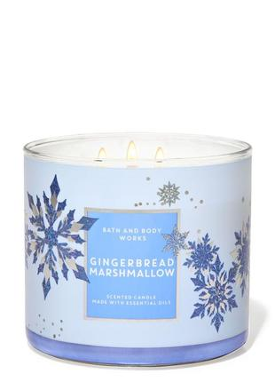 Свеча ароматизированная gingerbread marshmallow 3-wick candle bath and body works