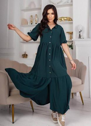Платье рубашка норма+батал макси в пол с воланами широкого свободного кроя малахит