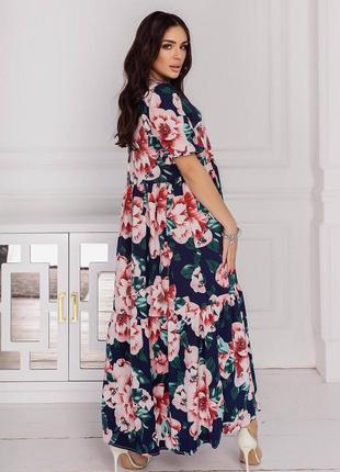 Платье норма+батал макси в пол в цветочный принт нежное струящееся темно синее