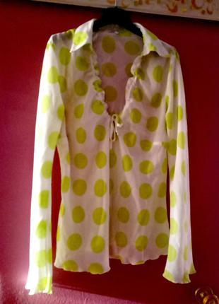 Летняя блуза в горошек