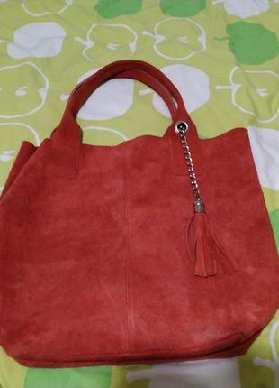 Красная замшевая кожаная сумка ecco