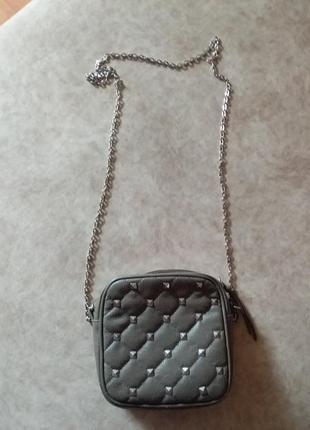 Маленькая серая женская сумочка клатч сумка