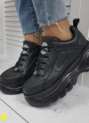 Кроссовки на высокой платформе буффало черные
