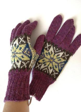 Ручная работа перчатки с орнаментом