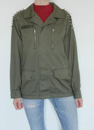 Куртка парка милитари с шипами