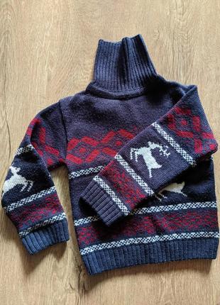 Свитер с оленями, кофта вязанная