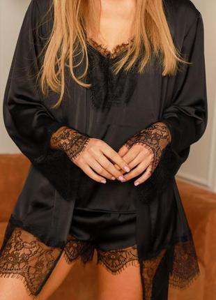 Набор шелковый халат с кружевом пижама майка шорты