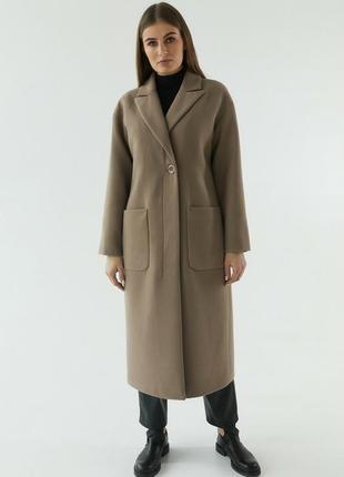 Пальто шерсть миди на пуговице