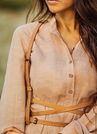 Бежевое платье рубашка класса люкс