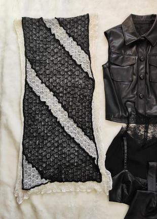 Белый черный большой широкий шарф палантин вышивкой кружевной натуральный мохер шерсть