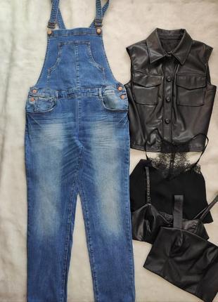 Синий голубой джинсовый комбинезон ромпер штанами стрейч голубой женский батал