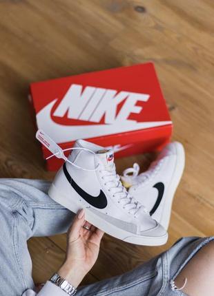 Nike blazer mid 🆕шикарные женские кроссовки🆕высокие кожаные бело-черные найк 🆕 кросівки🆕