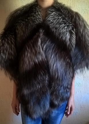 Меховая накидка (полушубок) натуральная лиса чернобурка