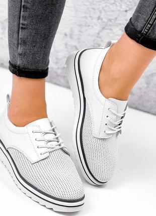 Туфли броги женские белые натуральная кожа с перфорацией 36 размер