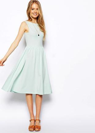 Asos мятное платье с углубленным вырезом на спине