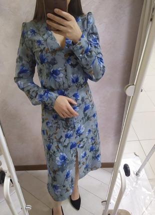 Шикарное голубое платье в цветок цветочек миди шифон шифоновое весеннее