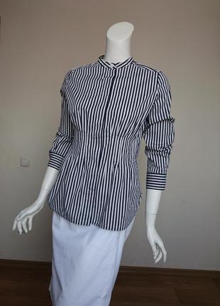 Cos котоновая стрейчевая блузка в полоску размер s-m