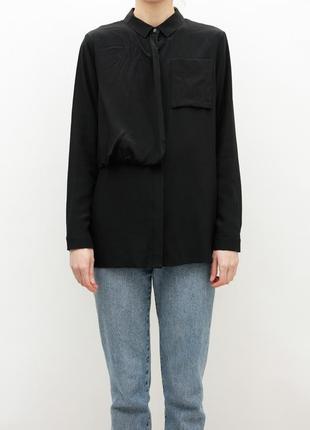 Шелковая чёрная блуза, рубашка  cos