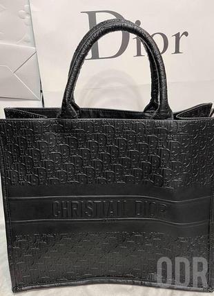 Сумка шоппер кожаная брендовая чёрная