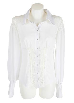Нарядная белая блуза на кнопках