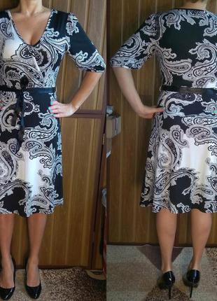 """Платье черно-белое в орнамент с """"огурцами"""" пейсли.  м размер. новое!"""