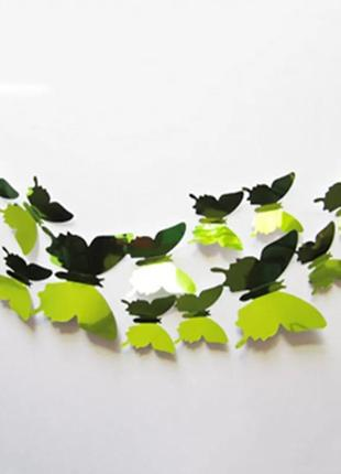 Наклейки бабочки интерьерные 12 шт в наборе зеленые зеркальные