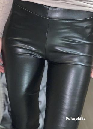 Модель 2021 чёрные кожаные лосины по фигуре штаны с высокой посадкой с напылением экокожи6 фото