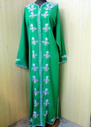 Восточное зелёное платье с вышивкой l/xl