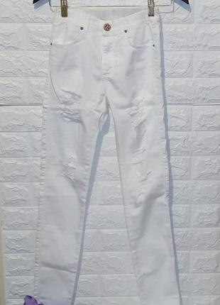 Белоснежные джинсики узкачи, размер xs/s