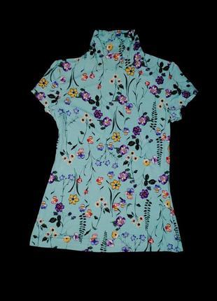 Шикарная футболка xs женская яркая под горло принт3 фото