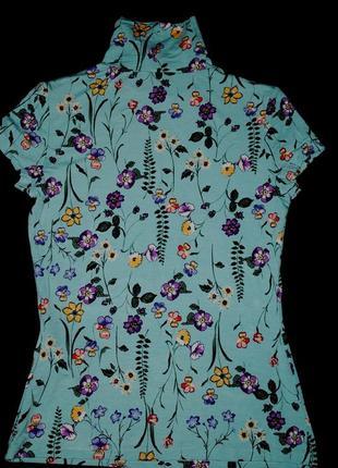 Шикарная футболка xs женская яркая под горло принт9 фото