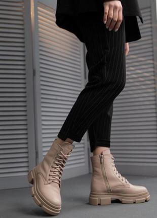 Женские ботинки кожаные весна/осень бежевые yuves 21270 байка