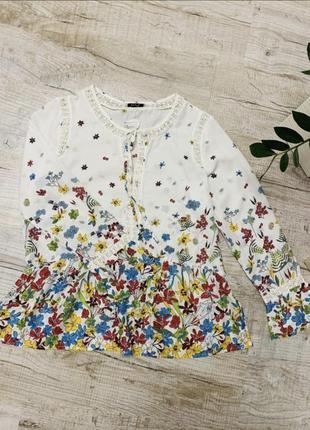 Шикарная блуза в цветочный принт m&s рр m-l-xl100%viscose