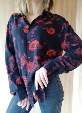 Рубашка в цветы h&m