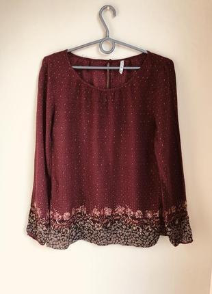 Рубашка легкая воздушная винного цвета в восточному стиле бохо инди