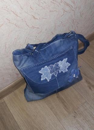Сумка шопер джинсовая