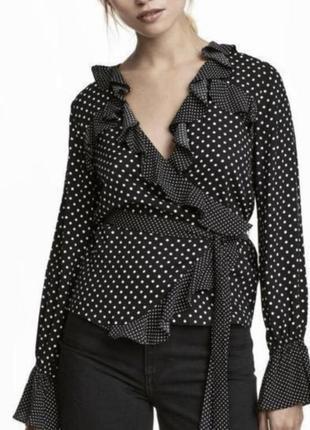 Новая блузка на запах с длинным рукавом в горошек рюшами нарядная блуза