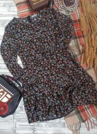 Платье миди с длинным рукавом в цветочный принт pep&co