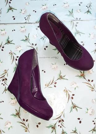 🌿1+1=3 шикарные фирменные фиолетовые туфли new look, размер 37