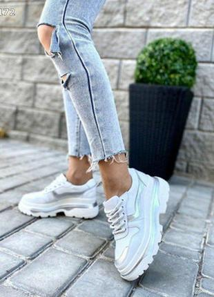 Кроссовки натуральная кожа белые с серебром