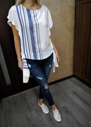 Стильная блуза в полоску и завязками внизу от f&f casual collection😍👍