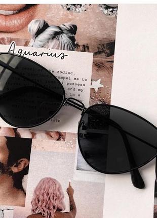 Очки кошечки кошки чёрные металлической оправе солнечные солнцезащитные женские