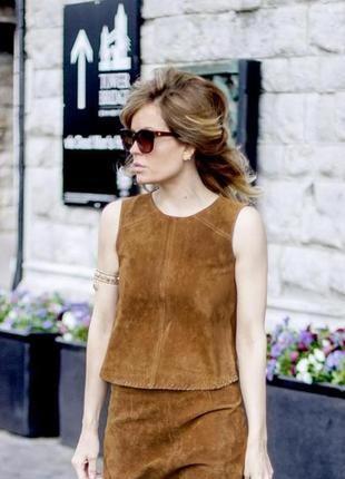 Крутой👌 кожаный топ футболка блуза майка 100% кожа с отделкой