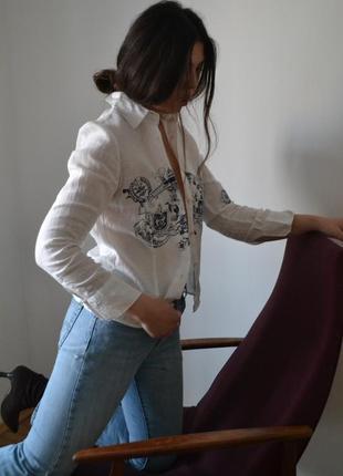 Льняная блуза в стиле dior
