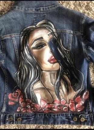 Куртка джинсовая с принтом