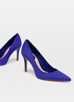 Синие туфли/лодочки под замшу stradivarius.