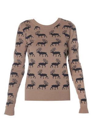 Кофта свитер с оленями от kira plastinina, м-л