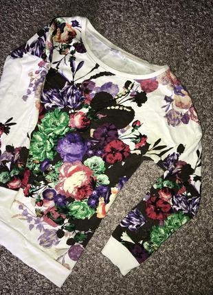 Свитер, кофточка, футболка с цветами, пуловер, толстовка