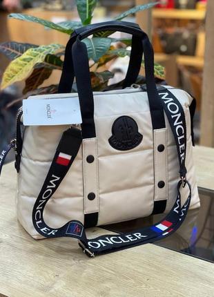 Сумка женская moncler puf beige бежевая (монклер, клатч, кошелек, рюкзак, сумочка)